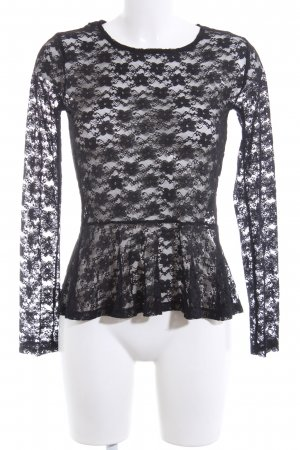H&M Divided Spitzenbluse schwarz Allover-Druck Casual-Look