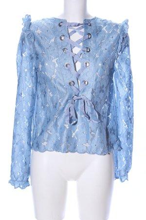 H&M Divided Spitzenbluse blau Elegant