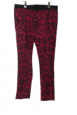 H&M Divided Stoffhose schwarz-rot abstraktes Muster Casual-Look