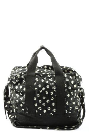 H&M Divided Bolso de tela negro-blanco estampado con diseño abstracto
