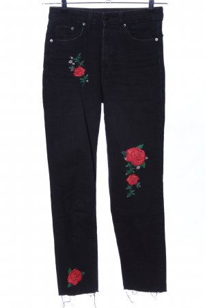 H&M Divided Straight-Leg Jeans schwarz-rot Blumenmuster Casual-Look