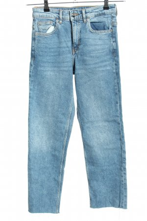 H&M Divided Jeansy z prostymi nogawkami chabrowy Tkanina z mieszanych włókien