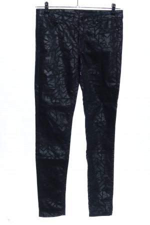 H&M Divided Stretchhose schwarz-hellgrau grafisches Muster Casual-Look