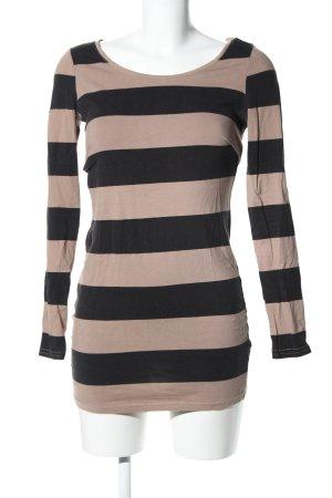 H&M Divided Stretchkleid creme-schwarz Streifenmuster Casual-Look