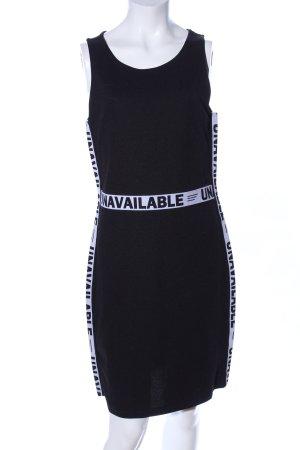 H&M Divided Stretchkleid schwarz-weiß Schriftzug gedruckt Casual-Look