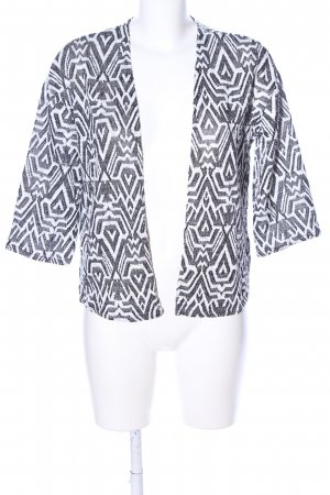 H&M Divided Strick Cardigan hellgrau-weiß abstraktes Muster Business-Look