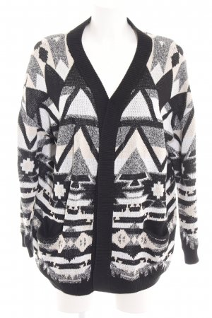 H&M Divided Strick Cardigan schwarz-weiß grafisches Muster Casual-Look