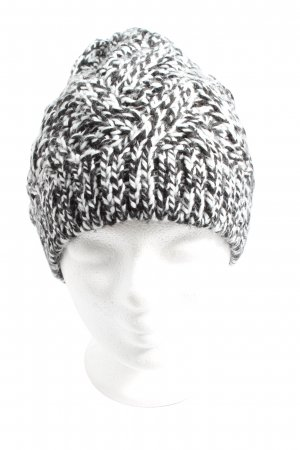 H&M Divided Knitted Hat white-black cable stitch casual look