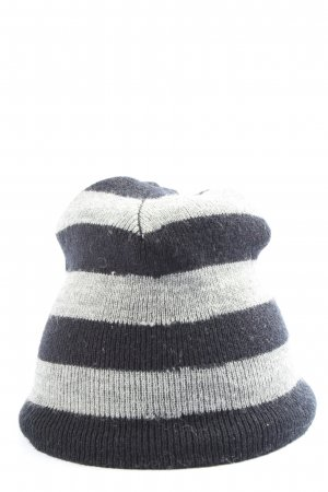 H&M Divided Knitted Hat black-light grey striped pattern casual look