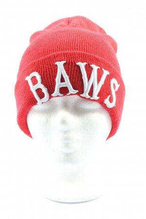 H&M Divided Knitted Hat red-white printed lettering casual look