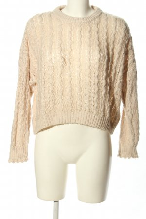H&M Divided Strickpullover creme Zopfmuster Casual-Look