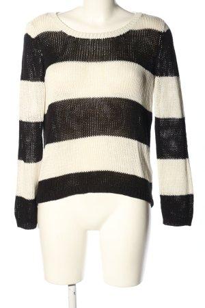 H&M Divided Strickpullover schwarz-weiß Streifenmuster Casual-Look