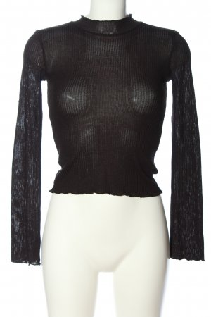 H&M Divided Strickpullover schwarz Zopfmuster Casual-Look