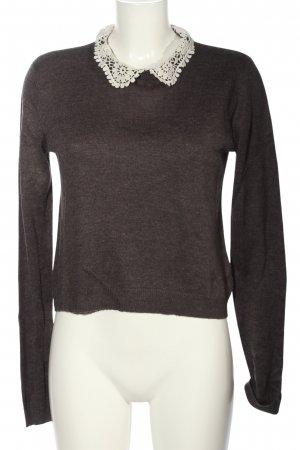 H&M Divided Strickpullover Anthrazit-weiß Casual-Look