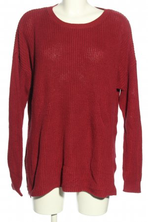 H&M Divided Strickpullover rot Zopfmuster Casual-Look