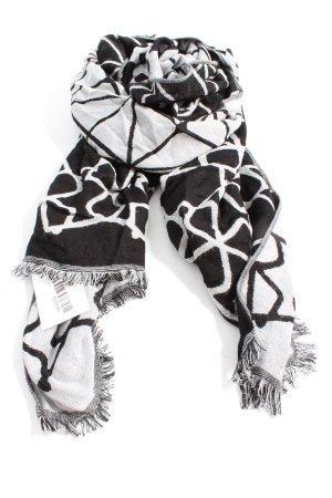 H&M Divided Strickschal schwarz-weiß grafisches Muster Casual-Look