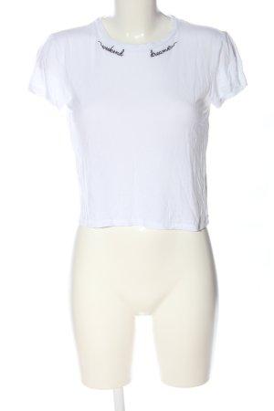 H&M Divided T-shirts en mailles tricotées blanc-noir lettrage imprimé