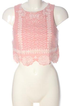 H&M Divided Top z dzianiny różowy-biały Graficzny wzór W stylu casual