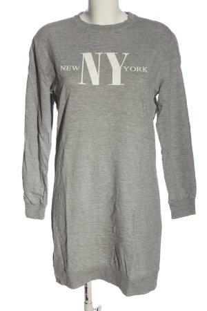 H&M Divided Vestido de tela de sudadera gris claro-blanco moteado look casual