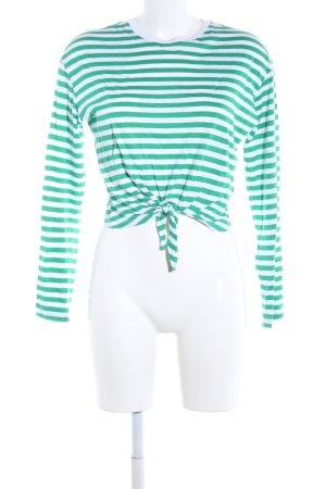 H&M Divided Sweatshirt grün-weiß Streifenmuster Casual-Look