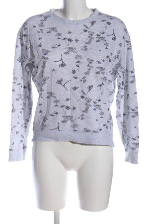 H&M Divided Sweatshirt hellgrau-schwarz Allover-Druck Casual-Look