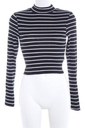 H&M Divided Sweatshirt schwarz-weiß Streifenmuster Casual-Look