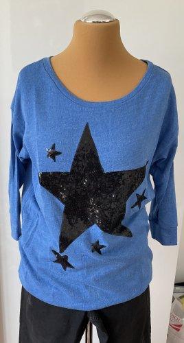 H+M Divided Sweatshirt blau mit Pailletten Stern schwarz Gr. 40 42 3/4 Arm guter Zustand