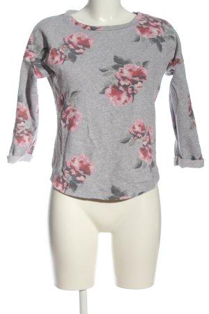 H&M Divided Sweatshirt hellgrau-pink Blumenmuster Casual-Look