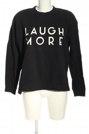 H&M Divided Sweatshirt schwarz-weiß Schriftzug gedruckt Casual-Look