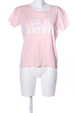 H&M Divided T-Shirt pink-weiß Schriftzug gedruckt Casual-Look