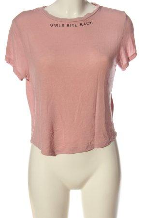 H&M Divided T-Shirt pink-schwarz meliert Casual-Look
