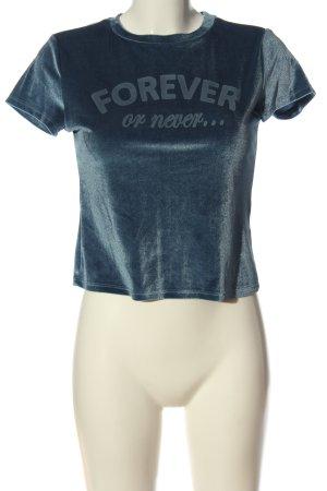 H&M Divided T-Shirt blau Schriftzug gedruckt Casual-Look