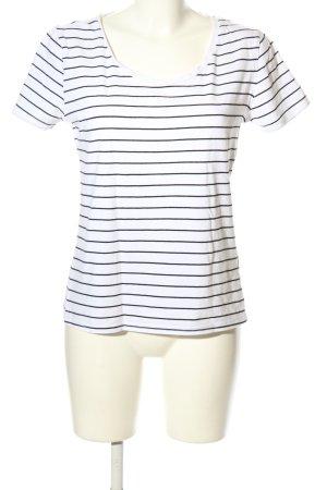H&M Divided T-Shirt weiß-schwarz Streifenmuster Casual-Look