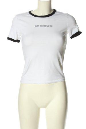 H&M Divided T-Shirt weiß-schwarz Schriftzug gedruckt Casual-Look