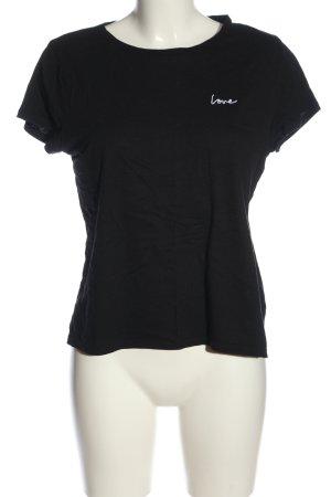H&M Divided T-Shirt schwarz Schriftzug gedruckt Casual-Look