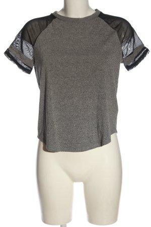 H&M Divided T-Shirt hellgrau-schwarz meliert Casual-Look