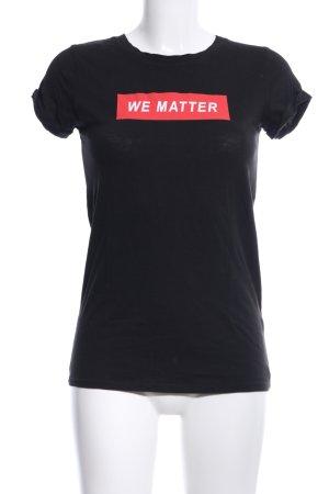 H&M Divided T-Shirt schwarz Motivdruck Casual-Look