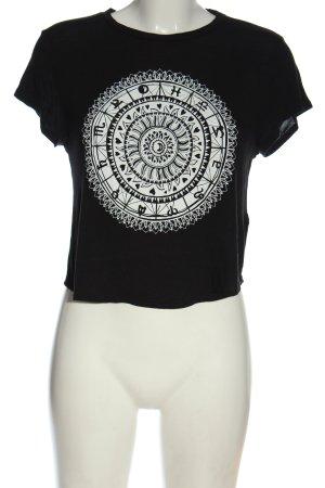 H&M Divided T-Shirt schwarz-weiß Motivdruck Casual-Look