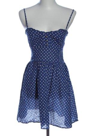 H&M Divided Trägerkleid blau-wollweiß Punktemuster Elegant