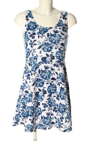 H&M Divided Trägerkleid weiß-blau Blumenmuster Casual-Look