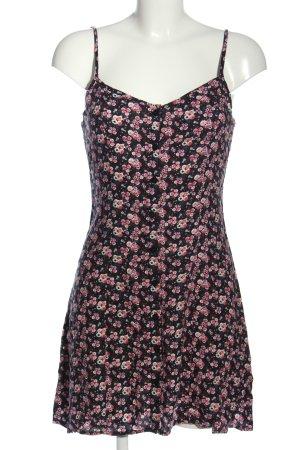 H&M Divided Trägerkleid schwarz-pink Allover-Druck Casual-Look