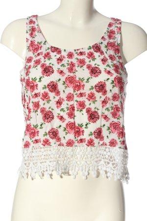 H&M Divided Trägertop weiß-pink Blumenmuster Casual-Look