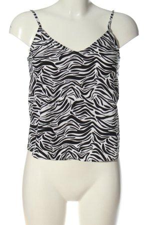 H&M Divided Trägertop schwarz-weiß abstraktes Muster Casual-Look