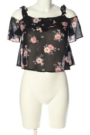 H&M Divided Transparenz-Bluse schwarz-pink Blumenmuster Casual-Look