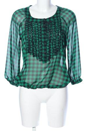 H&M Divided Transparenz-Bluse grün-schwarz Karomuster Elegant