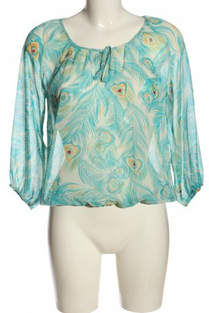 H&M Divided Transparenz-Bluse wollweiß-türkis Allover-Druck Casual-Look