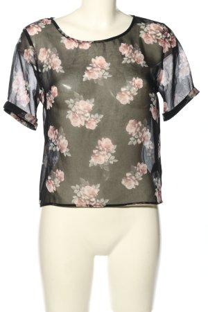 H&M Divided Transparenz-Bluse schwarz-pink Allover-Druck Party-Look