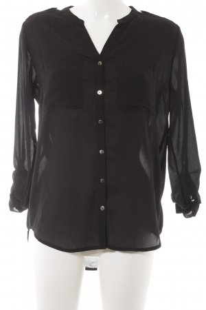 H&M Divided Transparenz-Bluse schwarz Elegant