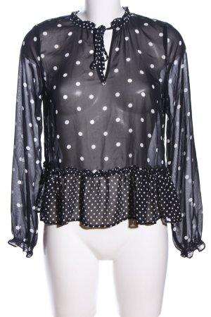 H&M Divided Transparenz-Bluse schwarz-weiß Punktemuster Casual-Look