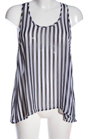 H&M Divided Transparenz-Bluse schwarz-weiß Streifenmuster Casual-Look